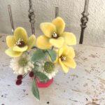 羊毛フェルトの「お花コース」「お花のミニブーケコース」作品レポート