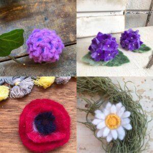 羊毛フェルトの「お花コース」作品レポート