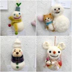 羊毛フェルト作品展での「雪だるま」作品のご紹介(1)
